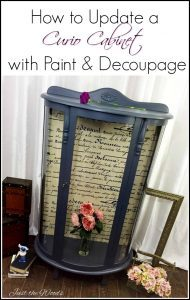 curio-cabinet, painted curio cabinet, decoupage, just the woods