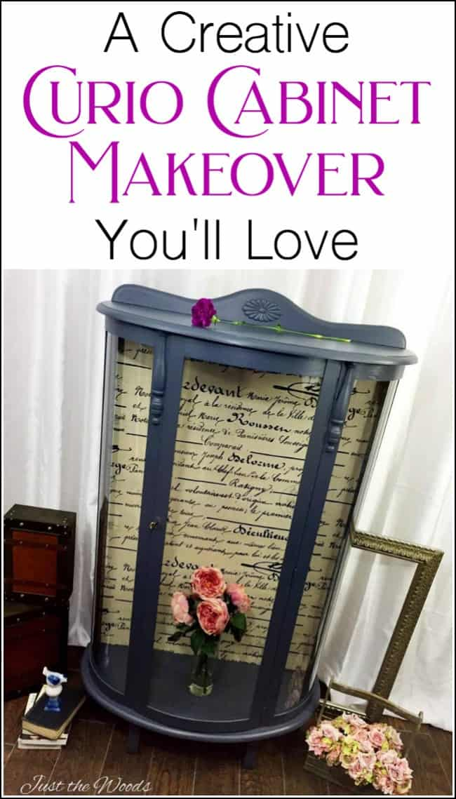 curio cabinet, curio cabinet makeover, bow front curio cabinet, charcoal paint, fabric decoupage, curio cabinet makeover