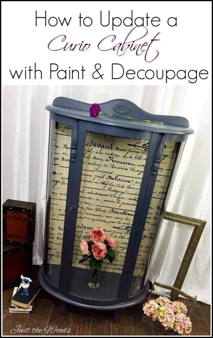 bow front curio cabinet, charcoal paint, fabric decoupage