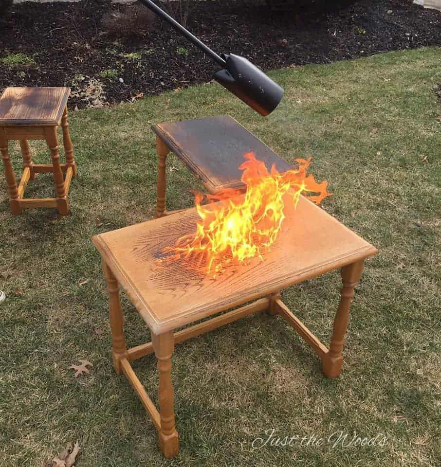 Wood Burning Tables, wood burning, wood grain, flame, blowtorch, wood nesting tables
