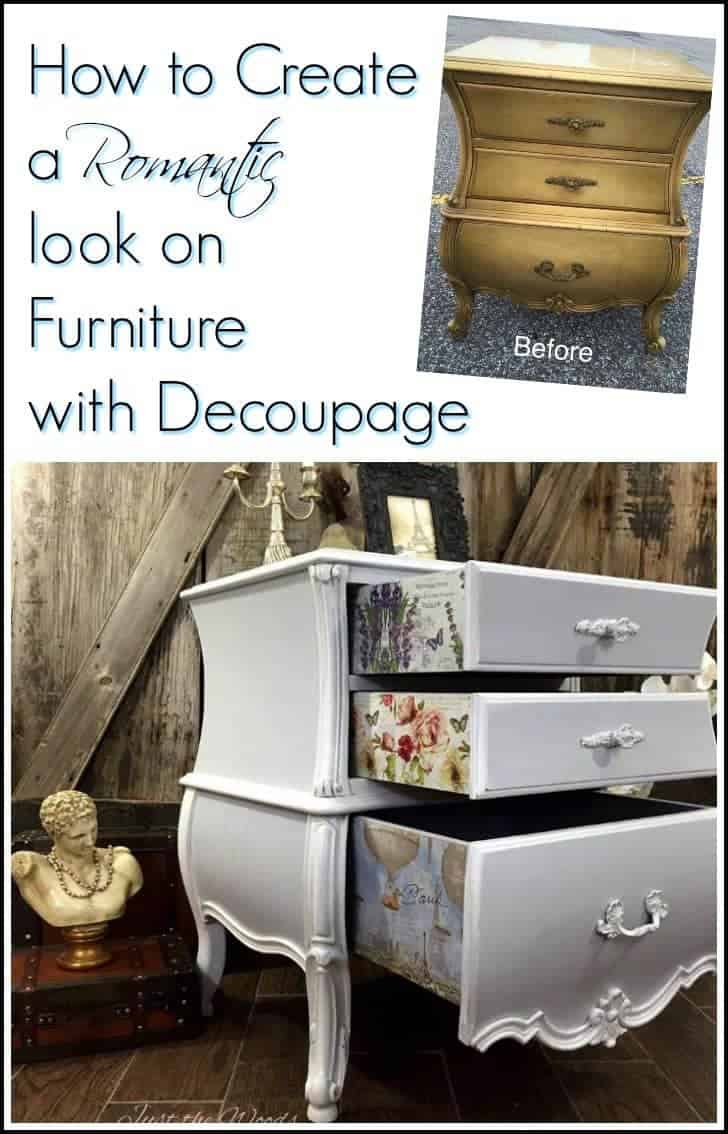 Romantic painted bombe chest. Add decoupage to painted furniture. Decoupage pretty prints to the sides of drawers for an added surprise #paintedfurniture #paintedbombechest #romanticfurniture #furnituremakeover #paintedfurniturebeforeandafter #furnituredecoupage