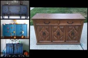painted blue buffet, painted furniture, staten island, vintage furniture, just the woods