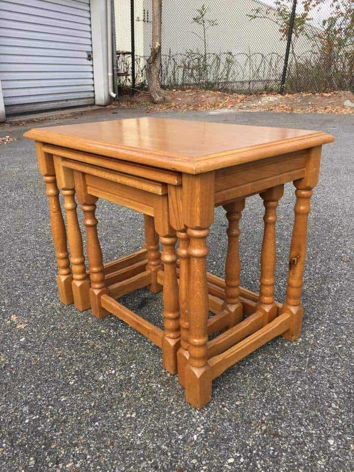 nesting tables, stacking tables, wood tables, unfinished tables, stackable tables