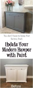 painted-hamper-makeover, painted hamper, update with paint