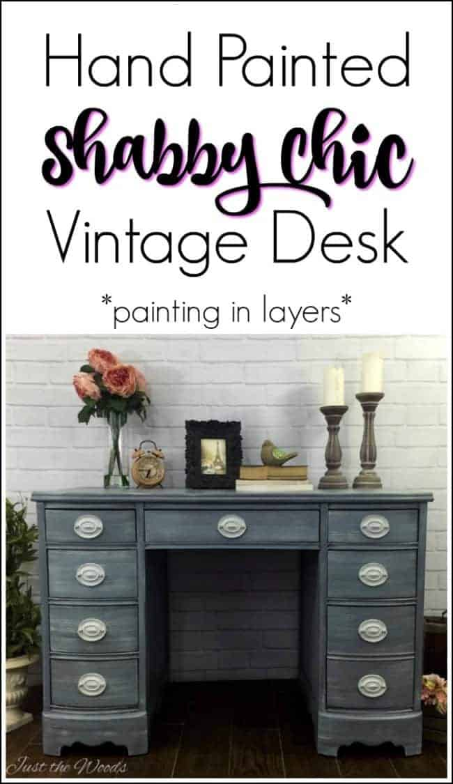 painted desk, hand painted desk, gray painted desk, shabby chic painted desk