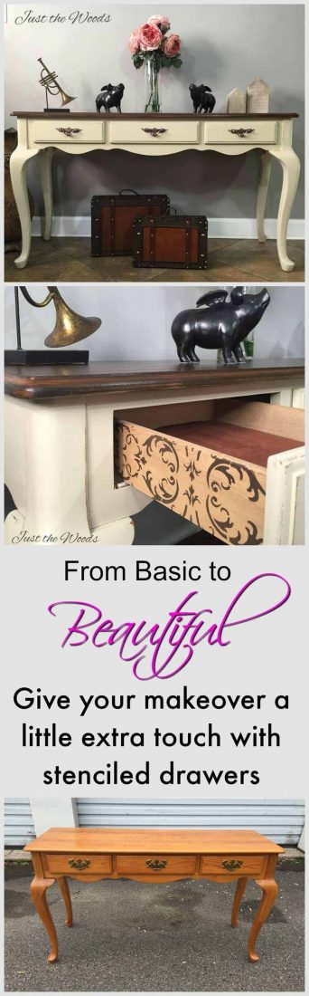 Adding stencil to painted furniture gives an added unique touch. Adding stencil to the outer sides of the drawers of a painted sofa table is perfect. Neutral vanilla and rich stain top with new hardware.
