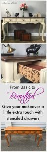 Toasted Almond Sofa Table with Stenciled Drawers