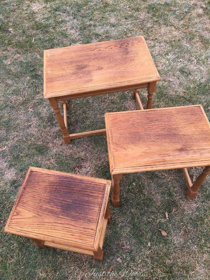 wood nesting tables, nesting end tables, wood burned tables