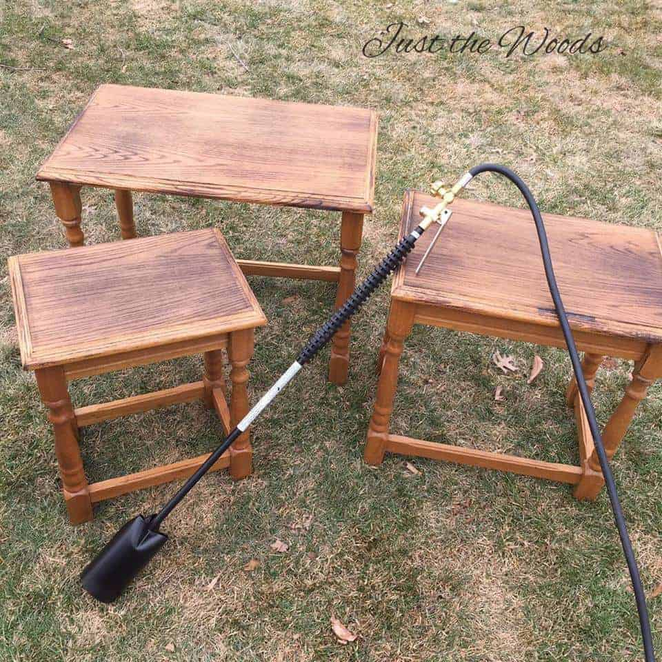 Wood Burning, wood burned, fire on tables, wood grain, Blow torch, stacking tables, oak nesting tables