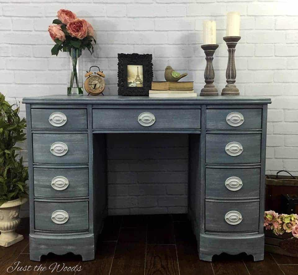 Painted Shabby Chic Hepplewhite Desk, shabby chic desk, vintage desk, painted desk, chalk paint, just the woods