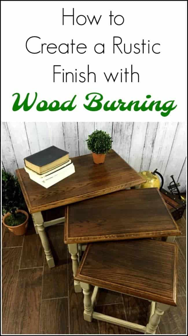 wood burning furniture, oak stacking tables, nesting tables, stackable tables