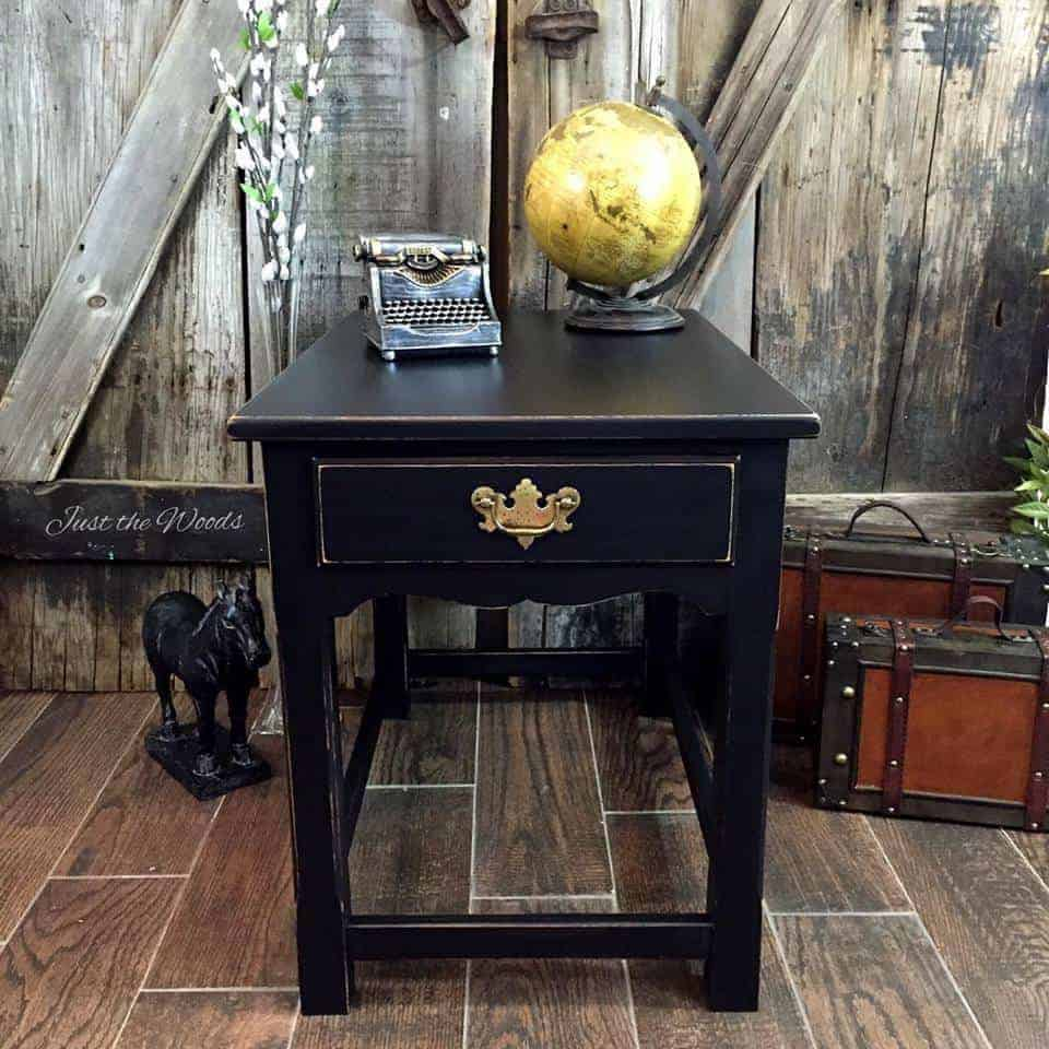 Classic Black Distressed painted table by Just the Woods