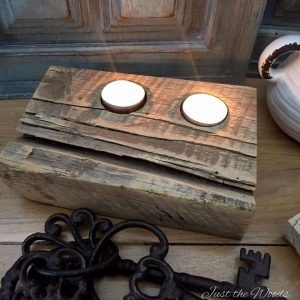 Rustic Reclaimed Barn Wood Tea Light Candle Holders by Just the Woods