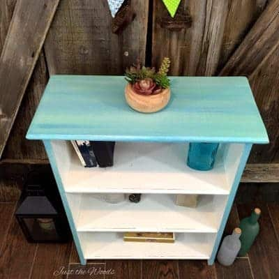 Cool Blues Painted Bookcase