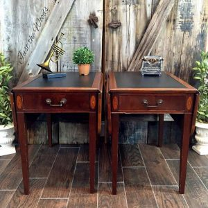Can leather be painted, how to paint on leather, painted leather tables, paint leather, vintage tables, nyc