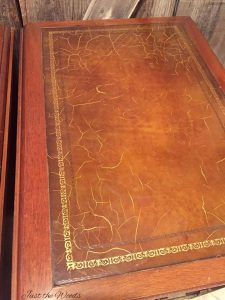 Antique tables with leather inlay, leather tables, how to paint leather