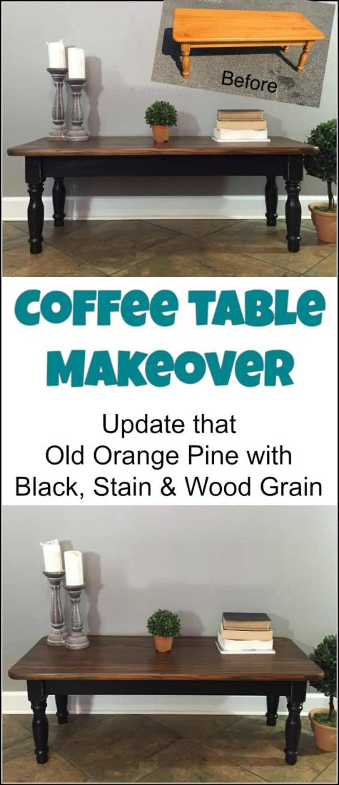 Coffee table makeover from orange pine to black chalk paint with a rich stain top gives this coffee table redo a thumbs up. Coffee table makeover ideas, painted coffee table, refinishing coffee table ideas, painted coffee table ideas, refurbished coffee table, ideas for painting a coffee table