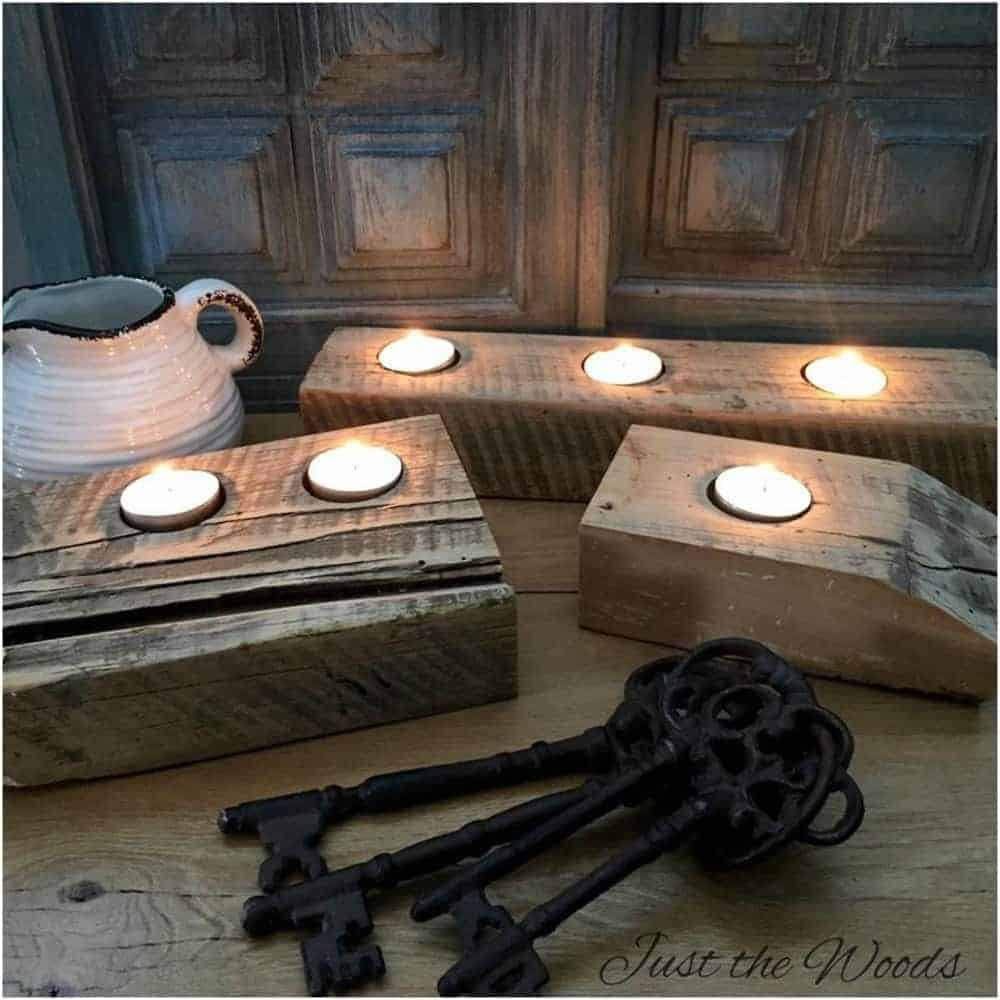 Rustic Wooden Tea Light Holder Free Shipping: Barn Wood Tea Light Candle Holder Rustic Decor From