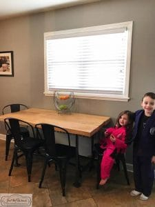 kids-at-table, farmhouse table, reclaimed barn wood, staten island, just the woods, how to build