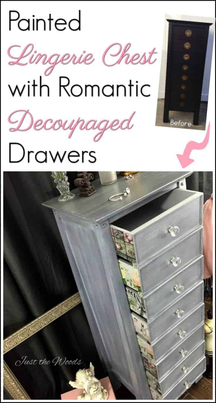 Painted lingerie chest with romantic decoupage on the outer drawers. Give painted furniture that unique touch with decoupage.