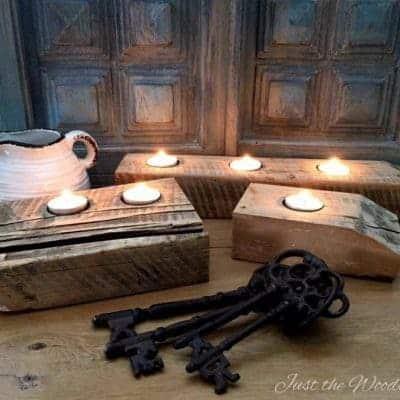 Rustic Barn Wood Tea Light Candle Holders
