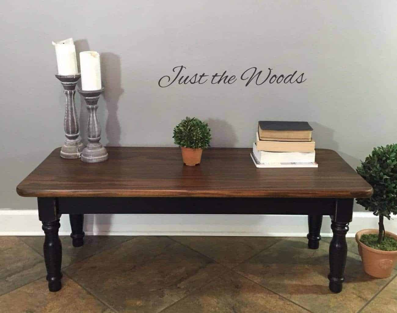 Black stain wood grain coffee table makeover by just for Painted coffee table ideas