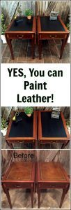 painted-leather-tables, how to paint leather, painted leather, vintage tables