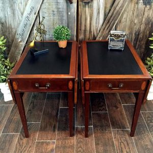 Leather top Tables, painted leather, how to paint leather, vintage tables