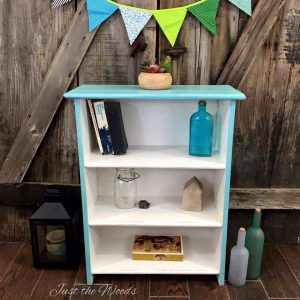 cool blues painted bookcase, dresser, just the woods, painted furniture, staten island, nyc