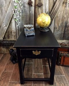 painted table, black chalk paint, distressed black, painted furniture, vintage table