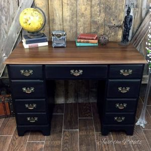 Rags to Riches vintage desk makeover in distressed black and stain top