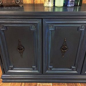 painted highlights, striations, blue buffet, ornate details, painted buffet, just the woods, nyc