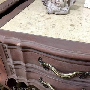 Romantic Painted Gustavian Style Tables / Just the Woods, marble top tables