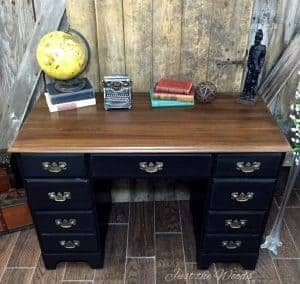 vintage desk, painted desk, black paint, distressed, just the woods