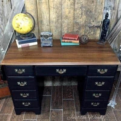 vintage desk, painted desk, black paint, distressed, just the woods