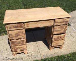 vintage desk, makeover, sanded, black chalk paint, Just the Woods