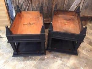 Thin Blue Line Painted End Tables, black painted tables
