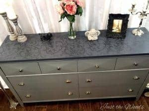 stencil dresser, painted dresser, vintage furniture, modern dresser, just the woods