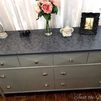 Elegant Gray Dresser with Tone on Tone Stencil top