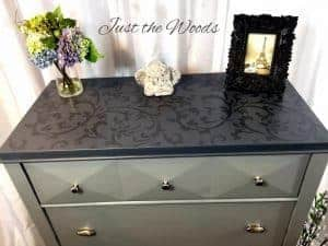 painted dresser, stenciled dresser, stenciled furniture, metallic stencil, gray dresser, chalk paint