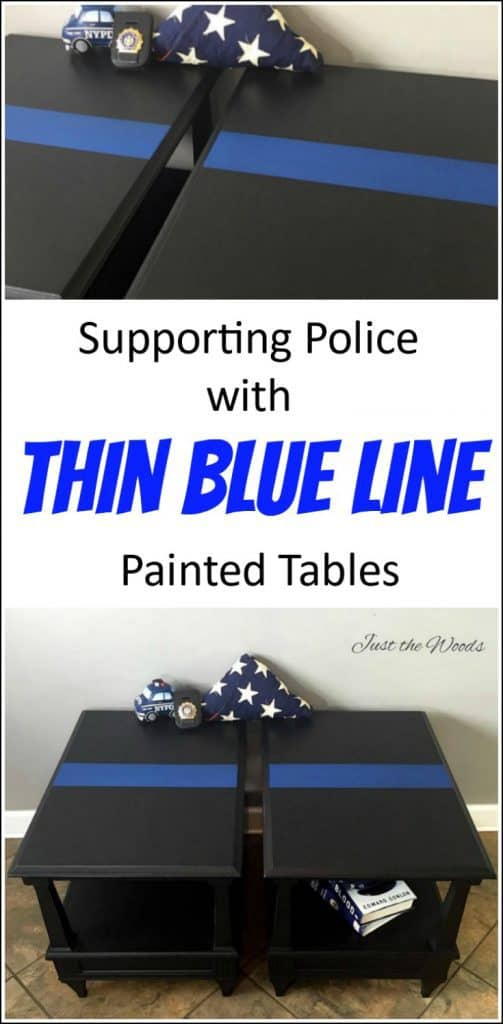 thin blue line painted tables