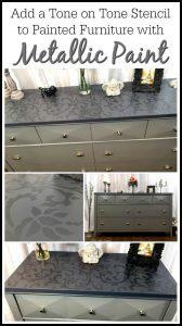 tone-on-tone-dresser, stencil dresser, metallic paint, painted dresser