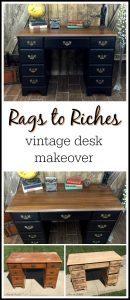 vintage-desk, painted desk, black chalk paint,