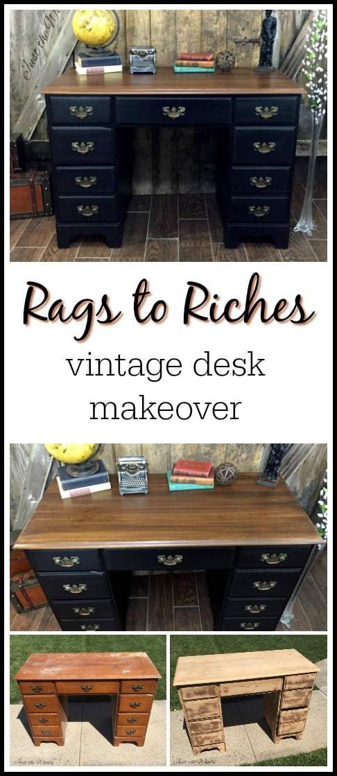 vintage-desk, painted desk, black chalk paint,