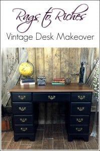 vintage-painted-desk, how to chalk paint a desk, antique desk