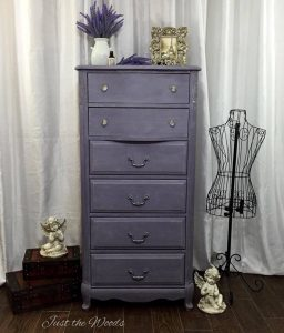 lingerie chest, painted chest, lavender dresser