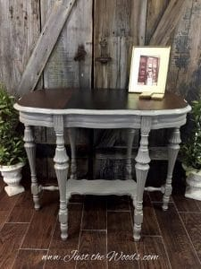 painted parlor table, coco chalk paint, antique table, painted furniture, just the woods, nyc