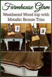 farmhouse-glam-painted-table, ethan allen, weathered wood, metallic, chalk paint