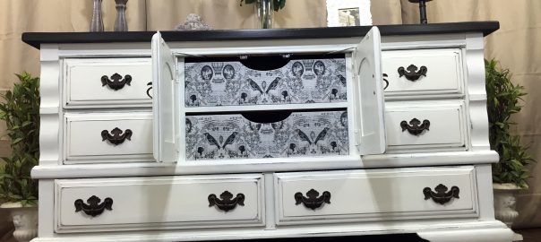 Hand Painted Dresser with Decoupaged Drawers by Just the Woods