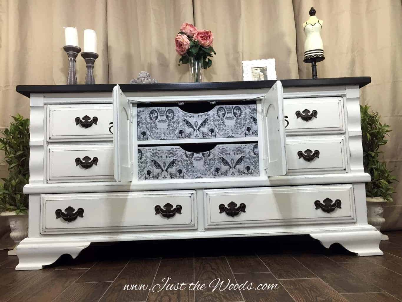 painted dresser ideas, painted dresser with decoupage, distressed white painted dresser